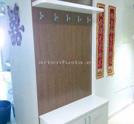 Mueble de entrada a medida zapatero perchero Cerezo y blanco Elche