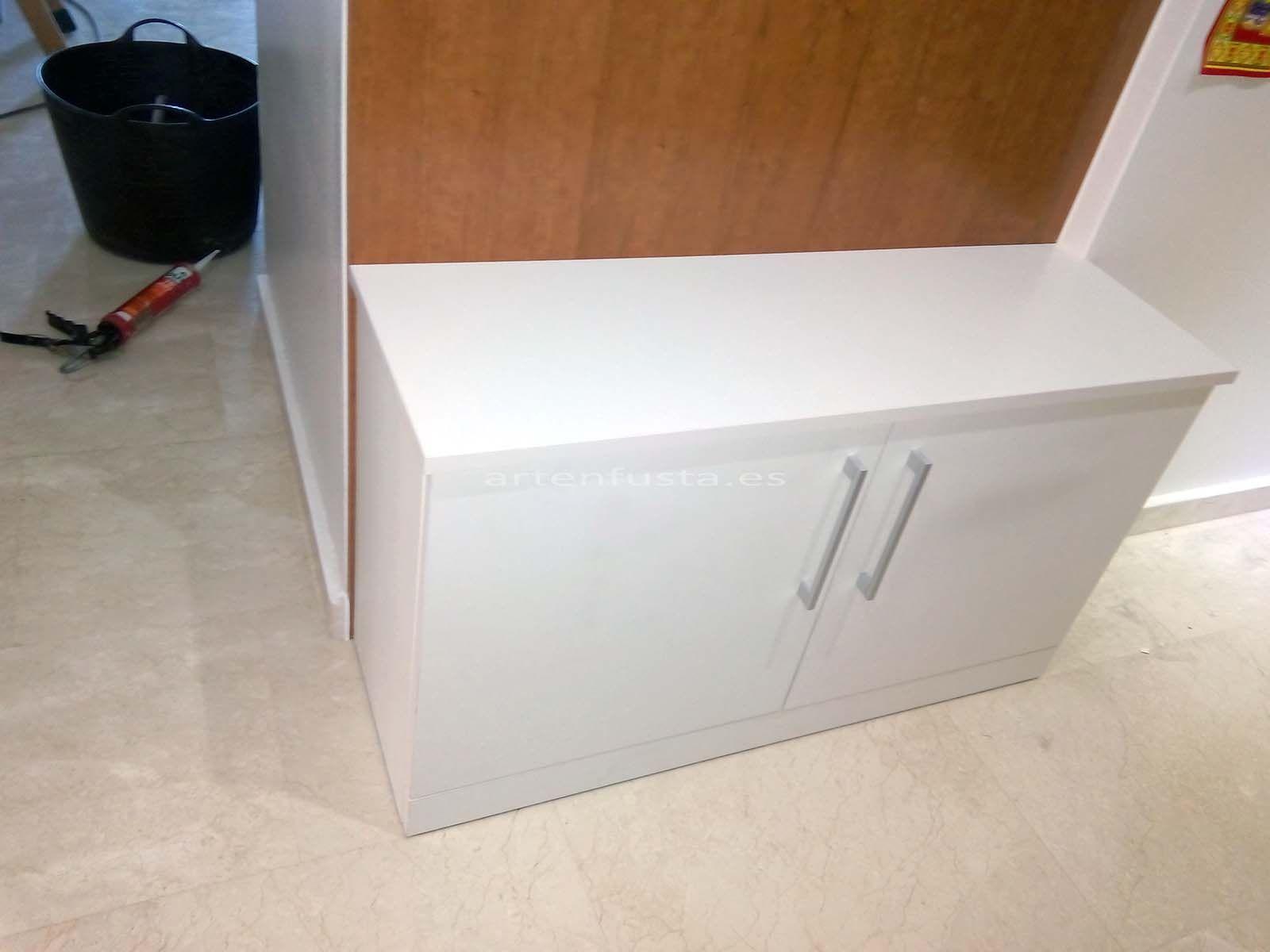 Mueble de entrada a medida zapatero perchero cerezo y blanco elche 4 carpinter a j jimenez - Mueble zapatero a medida ...